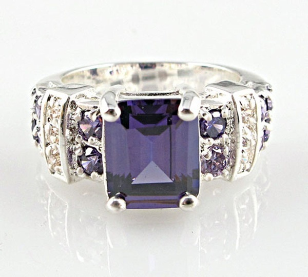 Grande Taille Princesse 5.2 CT Amethyst Women Silver Ring engagement Bijoux Taille 6-10