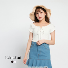 TOKICHOI - Ribbed Tee with Lace Tie-up-171165