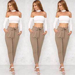 shop New Women Casual Harem Pants Comfy Elastic High Waist OL Pencil Trousers