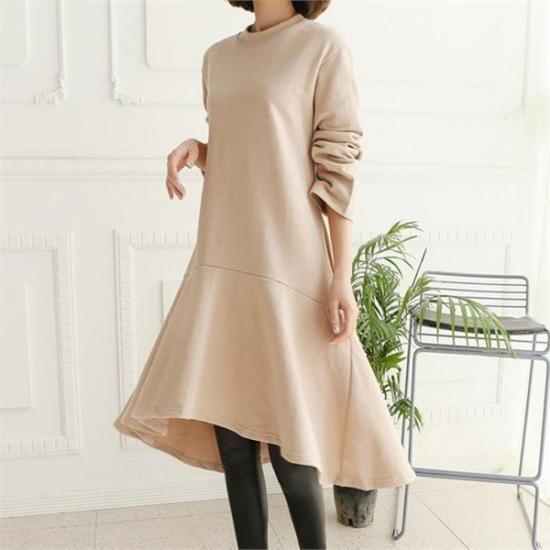 るみさん行き来するようにるみさんるみさんシュシュフレアロングワンピース 綿ワンピース/ 韓国ファッション