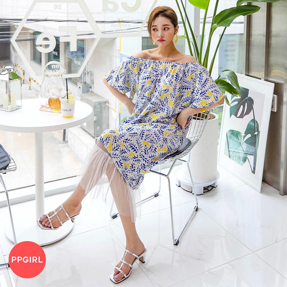 [PPGIRL官方旗艦店] 露肩T恤+蕾絲裙套裝 C315