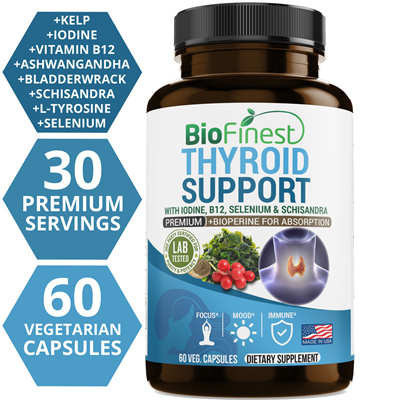 Biofinest Thyroid Support Complex with Iodine - For Weight Loss Metabolism  and Focus (60 Vegetarian Capsules)