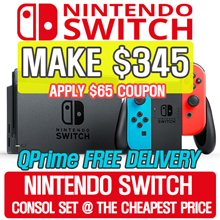 [MAKE $345] [SUPER SALE!] Nintendo Switch Console Super Bundle (Grey // Neon Red/Blue)