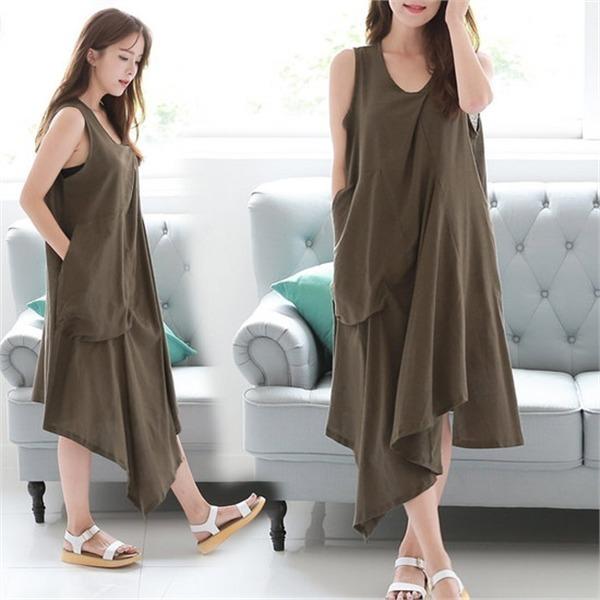 ソビンオンバルロンス死線リンネン、袖なしのワンピース4カラー澤クォン・スンテク1SBCHKHnew プリントワンピース/ワンピース/韓国ファッション