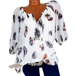 sale womens tops and blouses Long Sleeve Feather Print Lace Up V-Neck Off Shoulder Blouse Plus Size