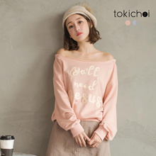 TOKICHOI - Off-Shoulder Print Long-Sleeve Top-182079-Winter