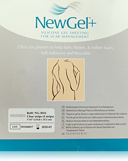 NewGel+ Silicone Gel Strips for Scar Managment - 1 x 6 inches Strips Clear (4 per box)