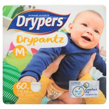 Drypers Drypantz M 7-12kg Disposable Diaper Pants 60pcs [Halal Certification]