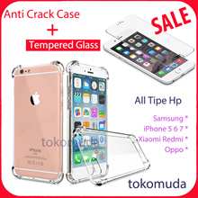 Packet Tempered Glass + Case Anti crack Xiaomi Redmi 4x iPhone 5 6 7 Oppo f1s Samsung C9 pro S8