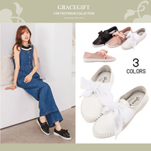 Gracegift-Classic Leather Woven Ribbon Tie Sneaker/Women/Ladies/Girls Shoes/