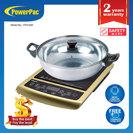 PowerPac Induction Cooker Steamboat with Stainless Steel Pot and Overheat Protection (PPIC848)