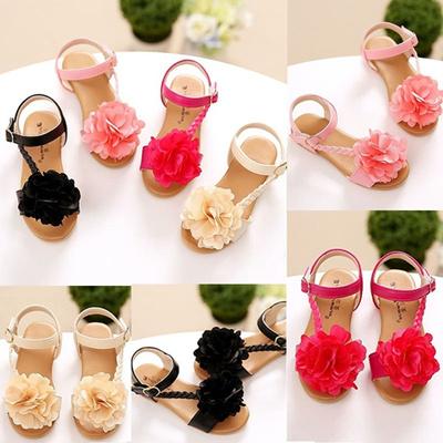 7ee7e0ae1ac70 2018 Summer Princess Girls Flower Sandals Cute Ankle Strap Flat Sandals  Baby Girls Beach Wear Kids