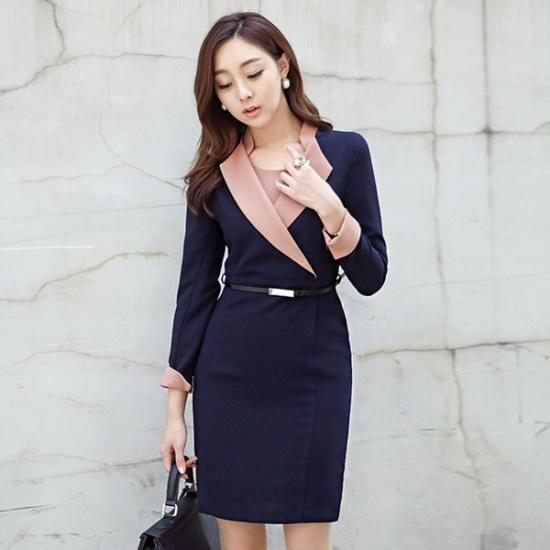 オッド豪華なカラ配色ベルトワンピースDRG374 スーツワンピース/ 韓国ファッション