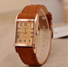 Women Leather Belt Strap Watch Fashion Watch Lovely BIG Quartz Casual  Square Watches KJ275
