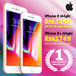 RM 3249 for Iphone 8 (64GB) / RM 3749 for Iphone 8+ (64GB) ( RM 400 coupon discount ) IPHONE 8  AND  IPHONE 8 PLUS  - MALAYSIA SET ( 1 Year Apple Warranty )