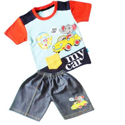 Skabe Baju Anak Bayi W/Tua Tangan Pendek Stelan Jeans 1812 - Biru