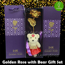 FREE QXPRESS! [SG stock] 24K Gold Rose with Bear Gift Set. Good for Valentines Day!