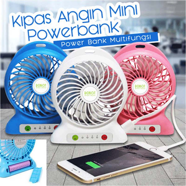 Kipas Angin Mini Powerbank / Kipas Angin Portable Lithium Battery FAN Deals for only Rp40.000 instead of Rp40.000