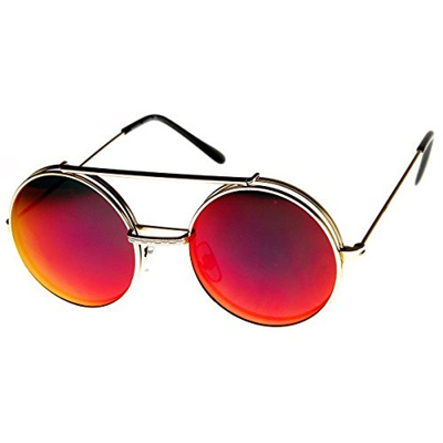 595fd9bbc34 zeroUV - Limited Edition Red Mirror Flip-Up Lens Round Circle Django  Sunglasses (Gold