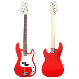 ammoon Solid Wood Electric Bass Guitar PB Style Basswood Body Rosewood Fingerboard with Gig Bag Stra