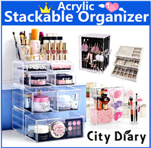 *Best Seller*Acrylic Stackable Cosmetics jewelry Organizer Storage Makeup Box earring watch luggage