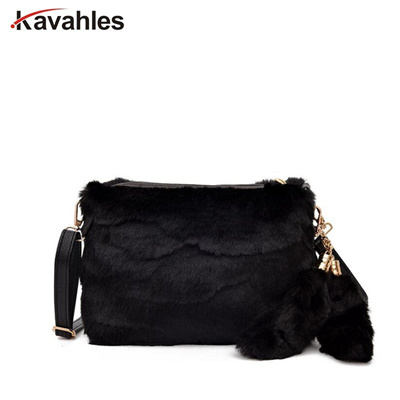 a5b98cf26359 Women Messenger Bags Winter Female Leopard Bag Luxury Faux Fur Bags For  Women Shoulder Clutch Bag