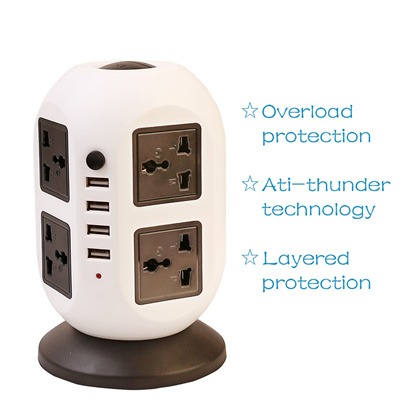 Vertical type power socket power tower Extension USB outlet USB  Charger universal 0a7a242ca78ff