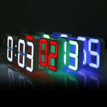 Original Modern Wall Clock Digital 3D LED Table Clock Watches 12/24 Hours Display Clock mechanism Al