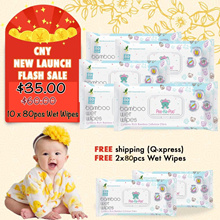 Buy 10 x 80pcs Wet wipes FREE 2 Wet Wipes ★No.1 Best Quality Bamboo Tissue★ FREE GIFT Included ★