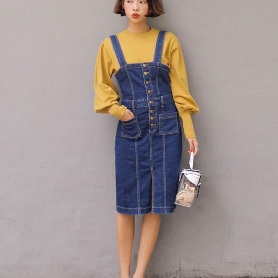 ウィドゥイプンニードサスペンダーデニムワンピース 綿ワンピース/ 韓国ファッション