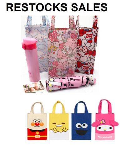 Restock Foldable Recycle Bag / Cartoon Recycle Bag / Carrier / Water Bottle Bag / Thermal Flask Bag