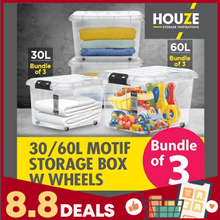 Bundle Of 3  Storage Boxes Collection  30L  - 60L Capacity  Strong And Durable  100% Virgin PP