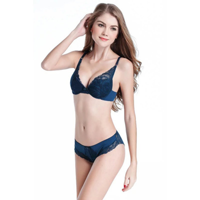 8266bb4ecb591 Sexy Women Ladies Bra and Panty Set Embroidery Lace Underwear Deep V Push  Up Bras Brassiere