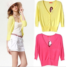 Candy Color 3/4 Sleeve Cardigan Jacket