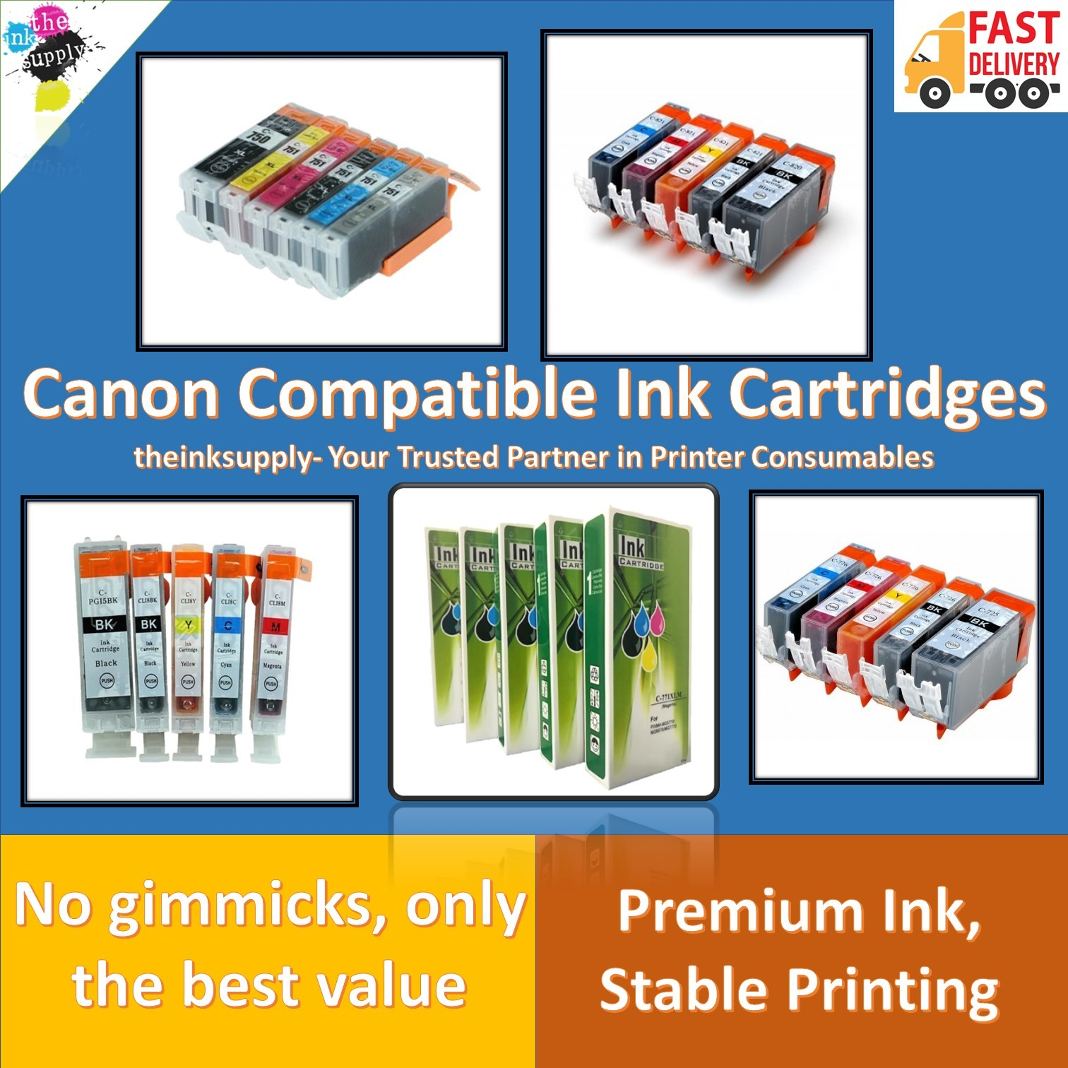 4 CLI-8 Black CLI-8 CMY Printer Ink Cartridge for CANON Set FREE SHIPPING!