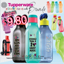 TUPPERWARE Water Bottle 310ml 500ml 750ml 900ml 1000ml 2L Aquasafe Fliptop Screw Cap  Slim Bottle