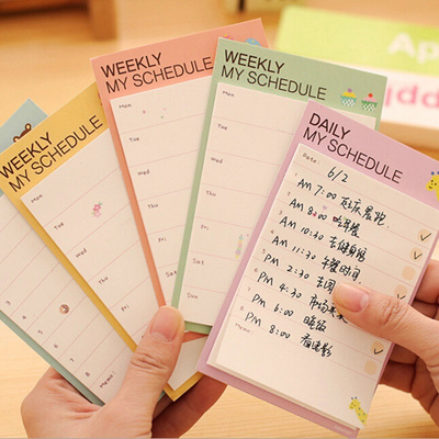 SG10 pcs Pop Cartoon Plan Schedule Check Stick Sticky Notes Bookmark Pads