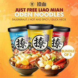 Bundle of 3 Just Free Liao Mian Oden Noodles 163g - Sauerkraut / Hot and Spicy / Duck Neck