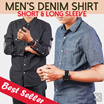 Mens Denim Shirt Short Sleeve And Long Sleeve / Kemeja pria casual atasan pria kaos