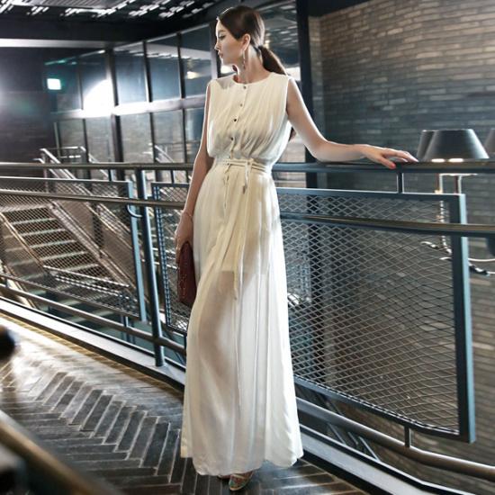 ディントゥD3380フロリダ・オープナーマキシのワンピース 綿ワンピース/ 韓国ファッション