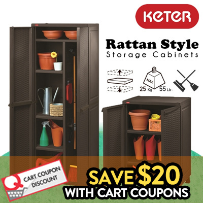 Qoo10 - [KETER] Rattan Style Plastic Storage Cabinet / Utility ...