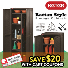 [KETER] Rattan Style Plastic Storage Cabinet / Utility Cabinet / Multipurpose / Brooms and mops