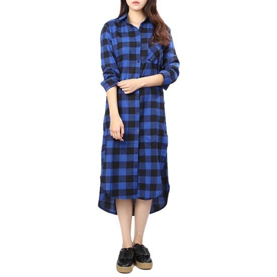 ラブLAPのフランネルチェックロングシャツ型ワンピースAH4WOA21 面ワンピース/ 韓国ファッション