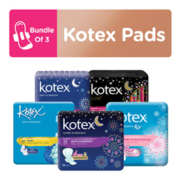 [Bundle of 3] Kotex Pads LUXESoft and Smooth Ultra Thin/ Overnight