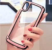 Transparent case iPhone X XR XS Max 8 7 Plus 6 6S Plush Paint Simple Business Style cover