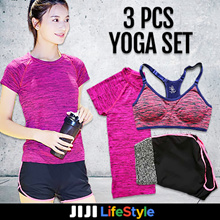 Premium 3 pc Yoga/Gym/Sports set Sports Bra Dri-fit T-shirt and shorts Buy2free shipping