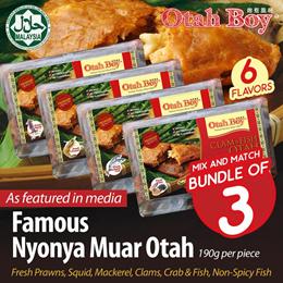 [Bundle of 3+Free Otah Buns] No.1 Best Seller HALAL Chunky Nyonya Muar Otah/6 Flavours/ Frozen Fresh