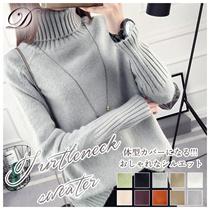 ♥送料無料♥韓国ファッション♥タートル ニット トップス セーター レディース 長袖 ゆったり ハイネック プルオーバー カシュクール 柔らかい 肌触り良い リブ 無地 シンプル 可愛い 暖かい 豊富