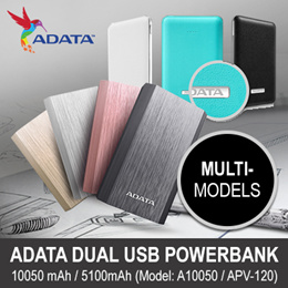 Power Deal! ADATA A10050 Ultra-light, Stylish 10050 mAh Power. Dual USB Ports Totaling 3.1A Fast Simultaneous Top-up of Mobile Devices. Synced Charge / Discharge / Impact Tested.