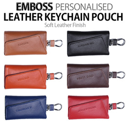[Gift]♥Embossed KEYCHAIN POUCH | UNISEX |Car Keys |Soft Leather Personalised Gift